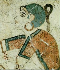 Young girl collecting crocus (ancient wall painting from Akrotiri, Santorini, Greece) Greek History, Ancient History, Art History, Fresco, Art Mural, Mural Painting, Wall Paintings, Knossos Palace, Bronze Age Civilization