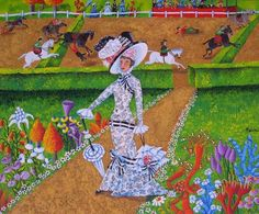 A fair (yet quite snobby) lady poses in a garden on a fair summer's day! 'My Fair Lady' by Spanish artist Menchu Garcia Rendueles, size: 38cmX46cm. Painting Acrylic on canvas