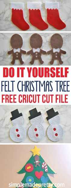 These DIY Felt Tree Ornaments are fun to add to your Christmas Decor and the felt tree project is a fun craft activity for kids. The Cricut Christmas Cut file is easy for beginner.