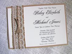 Rustic Lace Wedding Invitation Burlap Wedding by LoveofCreating