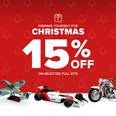 Christmas is just around the corner! Prepare yourself with 15% off off selected scale model full kits! Offer ends 20th November.