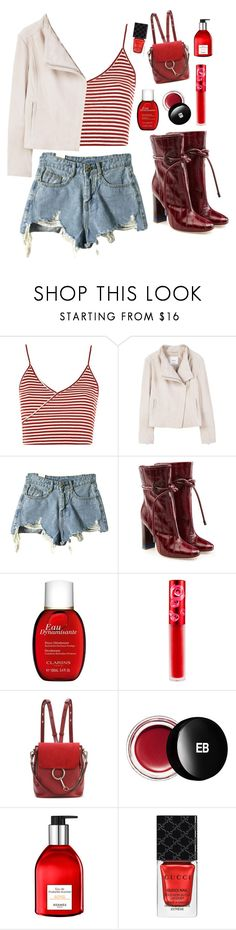 """Last walk in Paris"" by mode-222 ❤ liked on Polyvore featuring Topshop, MANGO, Malone Souliers, Clarins, Lime Crime, Chloé, Edward Bess, Hermès and Gucci"