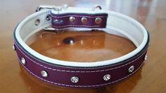 Plum Purple on White leather dog collar With Diamantes