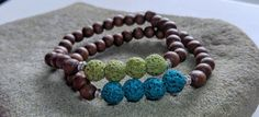 Essential Oil Bracelet Teal or Olive Lava by KidsAtHeartBeadShop