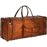 Amazon.com : INDIARTVILLA Leather Duffel Bag for Men and Women Overgnight Duffel Bags Weekend Diaper Travel Luggage Gym Tote Bag Tan : Baby