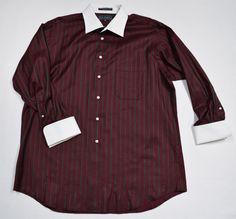 Paul Fredrick Men's Shirt Bordo Green White Collar French Cuff Cotton Sz 17-32 #PaulFredrick