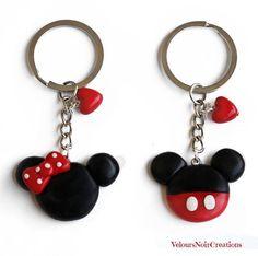 Portachiavi Minnie e Topolino in fimo - #Fimo #Minnie #porcelaine #Portachiavi #Topolino