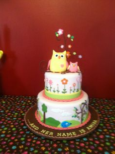 Fabulous shower cake to match the nursery theme of Happi Tree by Dena thanks to Bake-Me-A-Cake in Altamonte Springs, FL! Altamonte Springs, Girl First Birthday, Dena, Nursery Design, My Little Girl, Nursery Themes, Shower Cakes, Baby Showers, Cake Ideas