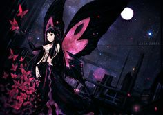 accel_world black_eyes black_hair butterfly dress elbow_gloves kuro_yuki_hime moon night oyeung petals stars wings World Wallpaper, Wallpaper Backgrounds, Beautiful Anime Girl, Anime Love, Girls Characters, Anime Characters, Hd Widescreen Wallpapers, Accel World, Butterfly Fairy