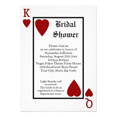 Vegas Playing Card King/Queen Bridal Shower Invitations