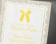 Yellow Country Burlap Bridal Shower Invitation