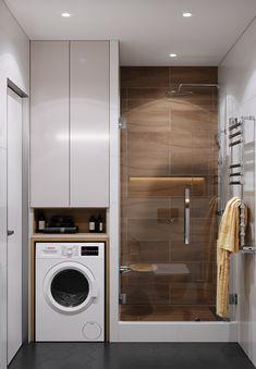 apartment on Behance Washroom Design, Bathroom Design Luxury, Laundry Room Design, Home Room Design, Interior Design Kitchen, Small Bathroom Layout, Laundry Room Bathroom, Bathroom Design Inspiration, Design Ideas