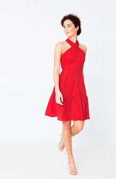 Red casual chic dress from fair fashion brand j.jackman. Perfect red dress for those times when you want to be just kind of dressed up, like relaxed weddings, summer nights out, birthday parties, the list goes on. The soft, luxurious fabric is a blend of cotton and silk and feels great and is super light weight. #lovethisdress #redoutfit #reddress #rotekleid #howtowearred # stunningreddress #weddingguestdress #red #reddress #wowdress #uniquedress #designerreddress