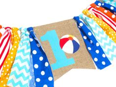 Pool Party Birthday Banner Highchair High Chair Beach Ball