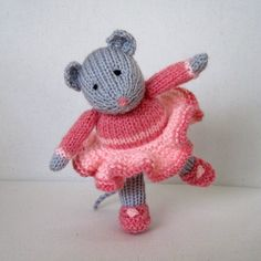 Darcy the Dancing Mouse knitted toy doll INSTANT by dollytime