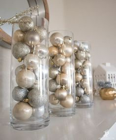 Living with Less - Frugal Holiday Decor for the Mantel - diy-mantle-decor-dollar-tree-jenniferppriest - Silver Christmas Decorations, White Christmas Trees, Dollar Tree Christmas, Christmas Mantels, Vintage Christmas Ornaments, Christmas Centerpieces, Xmas Tree, Christmas Diy, Victorian Christmas
