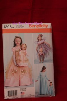 "1305 Simplicity Pattern for Ball gowns for Elsa and Ana, Garden Fairies will fit your little girl and her 18"" American Girl Doll - For The Hope Chest"