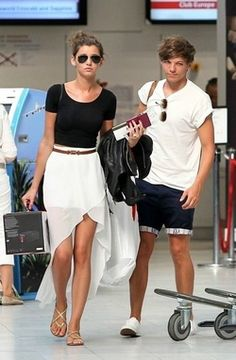 Eleanor Calder - black leotard + white fishtail skirt (and its double pretty seeing as Louis is in it Eleanor Calder, Louis And Eleanor, Black Leotard, Fishtail Skirt, Face Swaps, Cutest Couple Ever, Celebrity Faces, Celebrity Gossip, Leotards