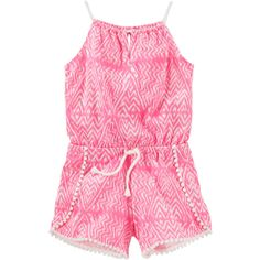 Pom pom romper ❤ liked on Polyvore featuring jumpsuits, rompers, pom pom romper, pink romper, pink rompers and playsuit romper