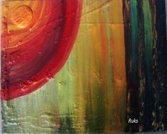 Vibrance~ Original textured & Acrylic Painting by Rukshana Hooda + Frame