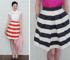 striped bridesmaids' SKIRTS.  I like this idea of skirts.