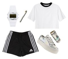 """Cash"" by v4ndaleyes ❤ liked on Polyvore featuring moda, Monki, Timex 80 y adidas"