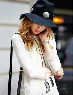summer Hat, white Dress