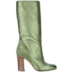 Michel Vivien heeled mid calf boots (1 571 AUD) ❤ liked on Polyvore featuring shoes, boots, green, real leather boots, leather boots, green leather boots, mid calf boots and genuine leather boots