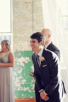 sweet excitement from the groom at the ceremony! | Alea Moore