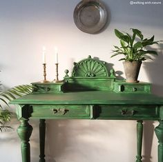 Carved and detailed desk table painted by a Chalk Paint® fan in Sweden that's reminiscent of Greenery, the Pantone Color of the Year. Inspired by her family's love of walks through the forest, Lisa mixed Amsterdam Green & Antibes Green Chalk Paint® to give this desk the feeling that nature had simply taken over it.
