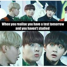 When you realize you have a test tomorrow and you haven't studied ~~ Jimin V Jungkook
