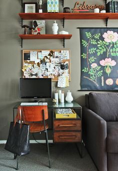 Taupe Walls/desk/shelves