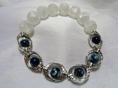 Crystal Quartz Crackle Stone with Blue Shell Stone Bead in Silver Plated Metal Frame Stretch Bracelet by NfntyArt on Etsy