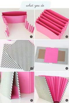 Organizador de papelería                                                                                                                                                      Más Diy Paper, Paper Crafts, Diy Crafts, Makeup Studio, Diy School Supplies, Art Folder, Do It Yourself Crafts, Craft Ideas, Diy Box