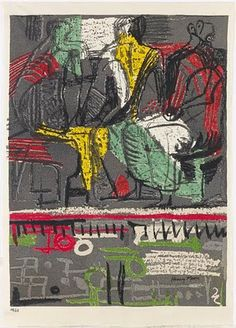Henry Moores 'Three Seated Figures', . Textile design.