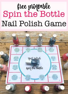 Spin the Bottle Nail Polish Game! If you are planning a sleepover party for your daughter, and are looking for. Easy Kids Party Games, Sleepover Party Games, Fun Sleepover Ideas, Sleepover Birthday Parties, Sleepover Activities, Birthday Activities, Kid Parties, Home Parties, Games For Sleepovers