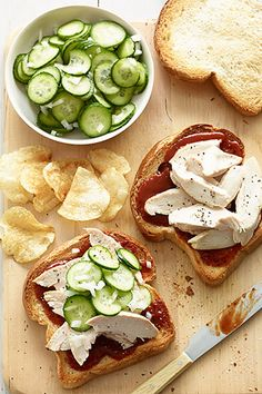 BBQ Chicken Sandwiches and Pickled Cucumbers:  Because this sandwichdoesn't call for many ingredients and is so easy-to-make, it's perfect for a quick lunchtime meal. It's a great way to use leftover chicken, and you can add jalapeno for an extra kick.