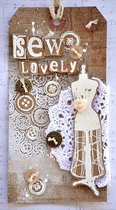 Tag by Belinda Spencer using Darkroom Door Buttons Texture Stamp, Dressmaker and Alphabet Medley Rubber Stamps.