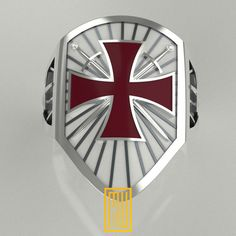 The Knights Templar Ring Unique Design for Men Sterling Knights Templar Ring, Masonic Symbols, Gold And Silver Rings, Armor Of God, Historical Images, Silver Enamel, Coat Of Arms, Unique Rings, Laser Engraving