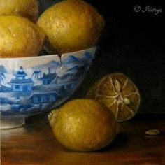 JEANNE ILLENYE - Still Lifes: Lemons in Porcelain Oriental Bowl Little Gems series oil paintings classical old world style