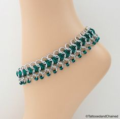 Emerald green glass chainmaille anklet - Tattooed and Chained Chainmaille  - 1