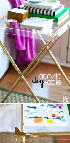 Repurposed Furniture: Acrylic Side Table - Furniture Makeover: Make-this-chic-table-by-repurposing-a-box-frame-and-a-TV-tray-stand. Tv Tray Table, Tv Trays, Diy Table, Furniture Makeover, Diy Furniture, Acrylic Furniture, Luxury Furniture, Contemporary Furniture, Acrylic Nightstand
