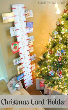 DIY: Easy-to-create Christmas Card Holder with 6' piece of wood and clothes pins by @Jenna_Burger via sasinteriors.net #LowesCreator #LowesCreativeIdea