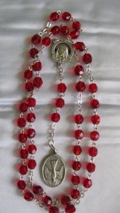 Chaplet of the Holy Spirit Blood Red Swarovski Crystals Silver Rosary Chaplet