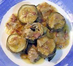 Alcachofas con jamón y setas
