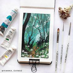 """KUM on Instagram: """"Do you prefer watercolor or gouache? 🎨 . Artist: @vianka_guinaz Brushes: KUM Memory Point brushes . . . #sketchbookart #gouache…"""" #Artist #avianka #brushes #gouache #guinaz #instagram #KUM #memory #Point #prefer #sketchbookart #viankaguinaz #Watercolor Art Sketches, Art Drawings, Gouache Painting, Art And Illustration, Art Sketchbook, Aesthetic Art, Art Tutorials, Art Inspo, Watercolor Paintings"""