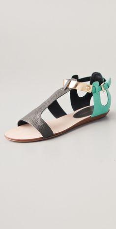 Bardot Colorblock Flat Sandals