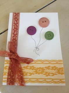 DIY Birthday card with lace and button balloons