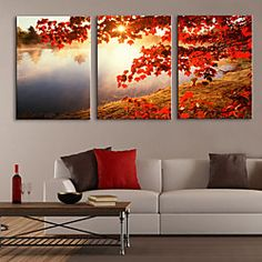 Stretched Canvas Print Art Landscape Tree by Lake Set of 3 | LightInTheBox
