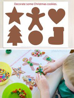 Free Printable Christmas Play Dough Mats - Decorate some Christmas Cookies.